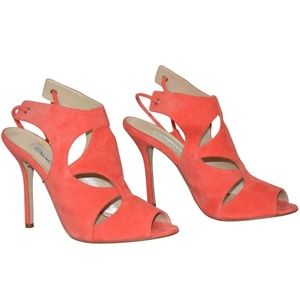 Oscar de la Renta Orange Coral Suede Booties